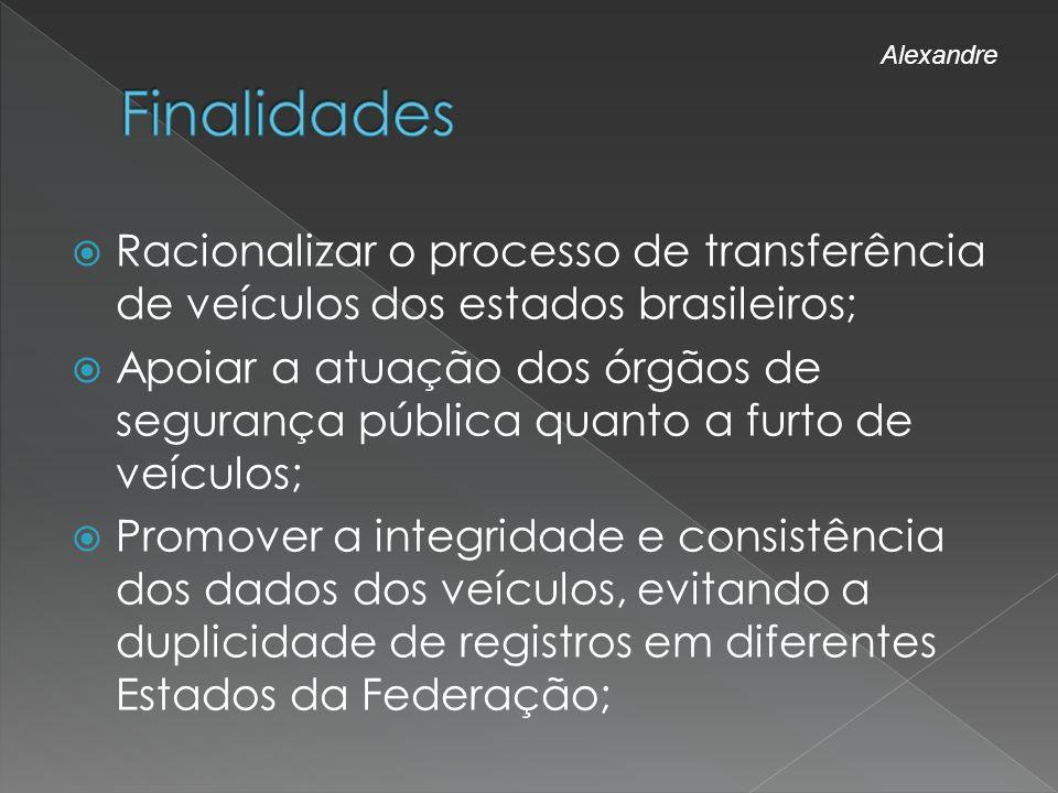 Racionalizar o processo de transferência de veículos dos estados brasileiros; Apoiar a atuação dos órgãos de segurança pública quanto a furto de veícu