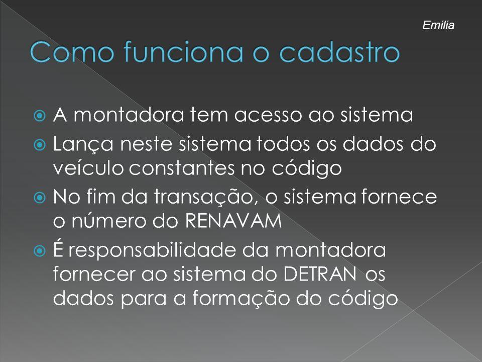A montadora tem acesso ao sistema Lança neste sistema todos os dados do veículo constantes no código No fim da transação, o sistema fornece o número d