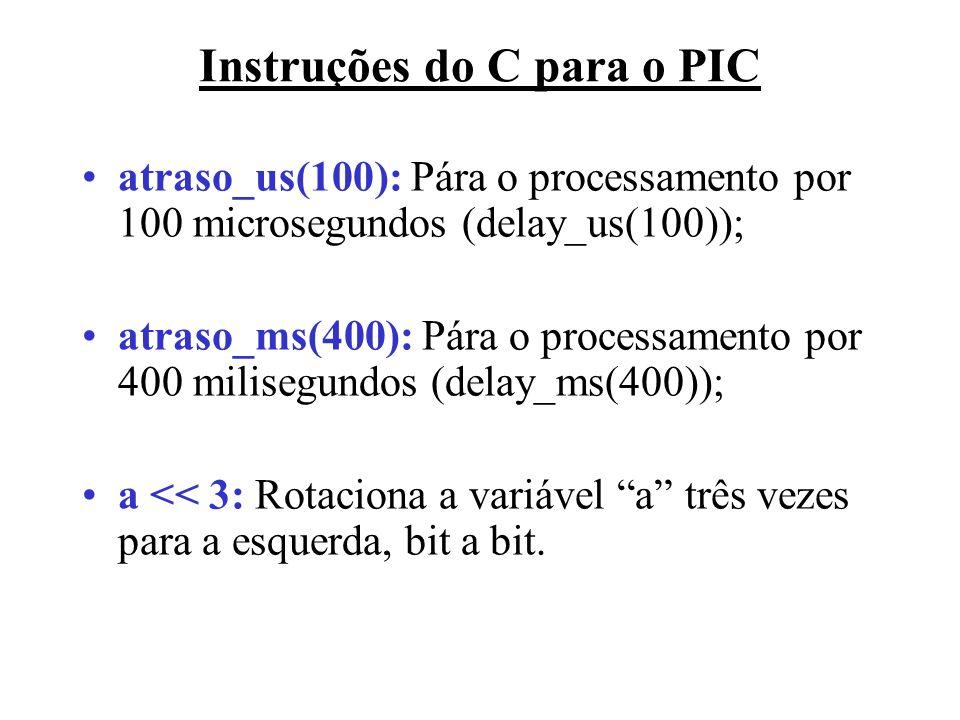 atraso_us(100): Pára o processamento por 100 microsegundos (delay_us(100)); atraso_ms(400): Pára o processamento por 400 milisegundos (delay_ms(400));