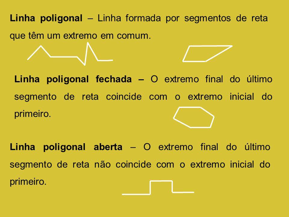 Linha poligonal – Linha formada por segmentos de reta que têm um extremo em comum. Linha poligonal fechada – O extremo final do último segmento de ret