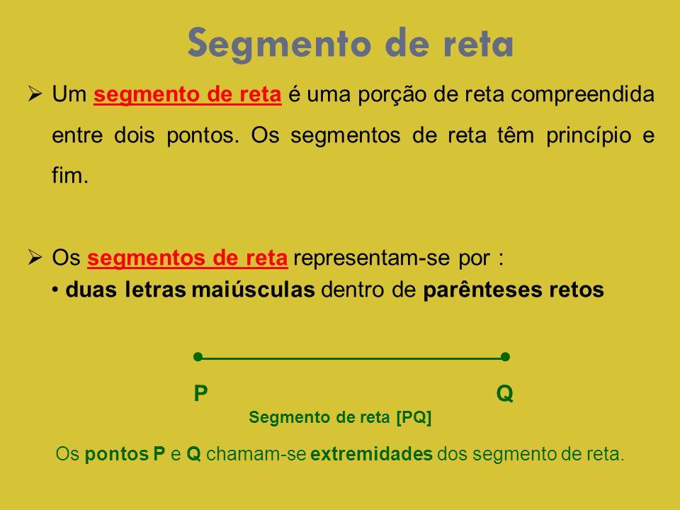 Segmento de reta Um segmento de reta é uma porção de reta compreendida entre dois pontos. Os segmentos de reta têm princípio e fim. Os segmentos de re