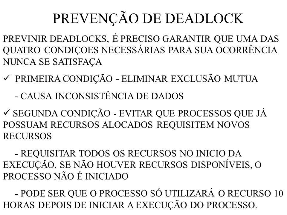 PREVENÇÃO DE DEADLOCK PREVINIR DEADLOCKS, É PRECISO GARANTIR QUE UMA DAS QUATRO CONDIÇOES NECESSÁRIAS PARA SUA OCORRÊNCIA NUNCA SE SATISFAÇA PRIMEIRA CONDIÇÃO - ELIMINAR EXCLUSÃO MUTUA - CAUSA INCONSISTÊNCIA DE DADOS SEGUNDA CONDIÇÃO - EVITAR QUE PROCESSOS QUE JÁ POSSUAM RECURSOS ALOCADOS REQUISITEM NOVOS RECURSOS - REQUISITAR TODOS OS RECURSOS NO INICIO DA EXECUÇÃO, SE NÃO HOUVER RECURSOS DISPONÍVEIS, O PROCESSO NÃO É INICIADO - PODE SER QUE O PROCESSO SÓ UTILIZARÁ O RECURSO 10 HORAS DEPOIS DE INICIAR A EXECUÇÃO DO PROCESSO.
