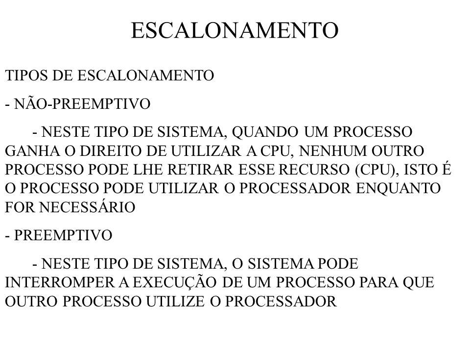 ESCALONAMENTO TIPOS DE ESCALONAMENTO - NÃO-PREEMPTIVO - NESTE TIPO DE SISTEMA, QUANDO UM PROCESSO GANHA O DIREITO DE UTILIZAR A CPU, NENHUM OUTRO PROCESSO PODE LHE RETIRAR ESSE RECURSO (CPU), ISTO É O PROCESSO PODE UTILIZAR O PROCESSADOR ENQUANTO FOR NECESSÁRIO - PREEMPTIVO - NESTE TIPO DE SISTEMA, O SISTEMA PODE INTERROMPER A EXECUÇÃO DE UM PROCESSO PARA QUE OUTRO PROCESSO UTILIZE O PROCESSADOR
