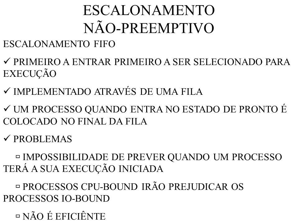 ESCALONAMENTO NÃO-PREEMPTIVO ESCALONAMENTO FIFO PRIMEIRO A ENTRAR PRIMEIRO A SER SELECIONADO PARA EXECUÇÃO IMPLEMENTADO ATRAVÉS DE UMA FILA UM PROCESSO QUANDO ENTRA NO ESTADO DE PRONTO É COLOCADO NO FINAL DA FILA PROBLEMAS IMPOSSIBILIDADE DE PREVER QUANDO UM PROCESSO TERÁ A SUA EXECUÇÃO INICIADA PROCESSOS CPU-BOUND IRÃO PREJUDICAR OS PROCESSOS IO-BOUND NÃO É EFICIÊNTE