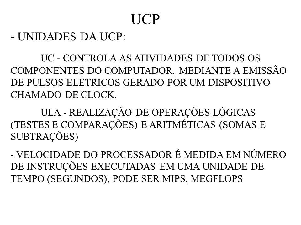 UCP - UNIDADES DA UCP: UC - CONTROLA AS ATIVIDADES DE TODOS OS COMPONENTES DO COMPUTADOR, MEDIANTE A EMISSÃO DE PULSOS ELÉTRICOS GERADO POR UM DISPOSITIVO CHAMADO DE CLOCK.