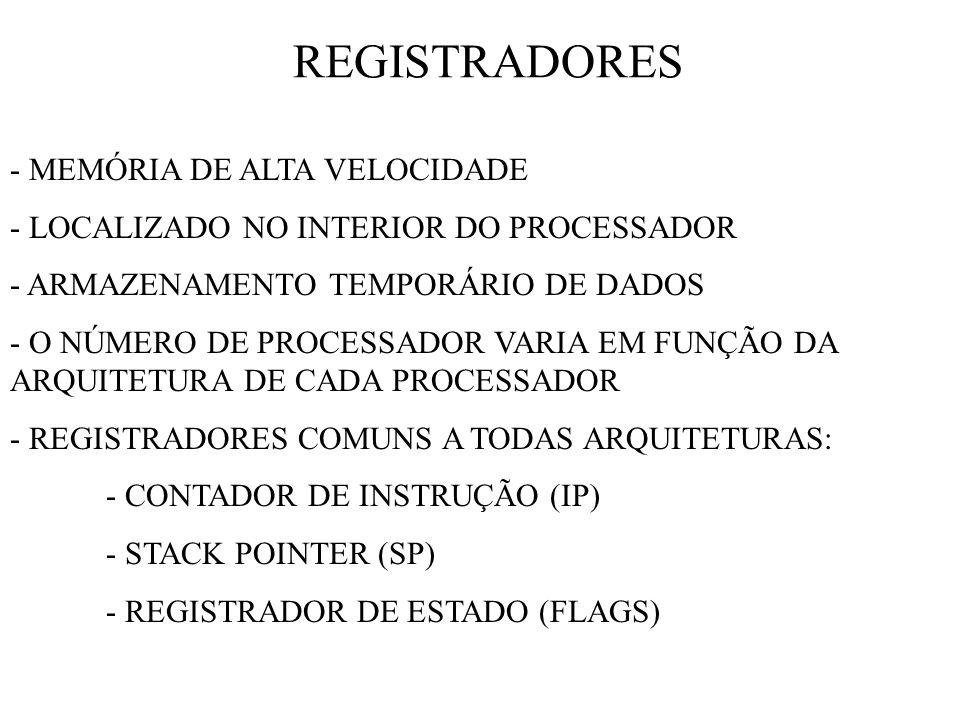 REGISTRADORES - MEMÓRIA DE ALTA VELOCIDADE - LOCALIZADO NO INTERIOR DO PROCESSADOR - ARMAZENAMENTO TEMPORÁRIO DE DADOS - O NÚMERO DE PROCESSADOR VARIA EM FUNÇÃO DA ARQUITETURA DE CADA PROCESSADOR - REGISTRADORES COMUNS A TODAS ARQUITETURAS: - CONTADOR DE INSTRUÇÃO (IP) - STACK POINTER (SP) - REGISTRADOR DE ESTADO (FLAGS)