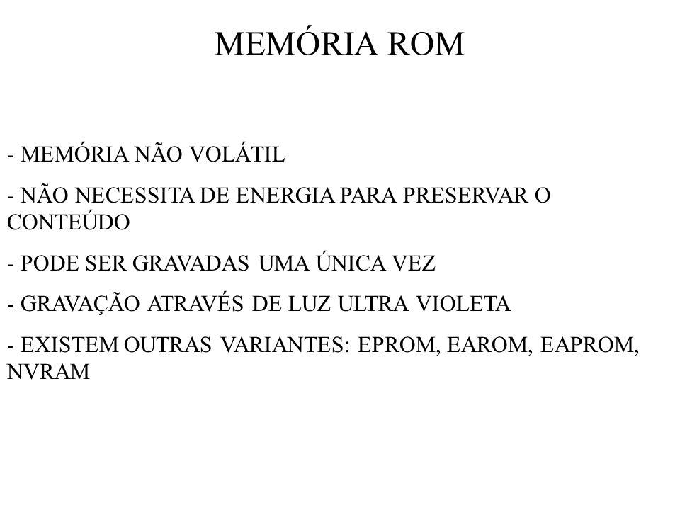 MEMÓRIA ROM - MEMÓRIA NÃO VOLÁTIL - NÃO NECESSITA DE ENERGIA PARA PRESERVAR O CONTEÚDO - PODE SER GRAVADAS UMA ÚNICA VEZ - GRAVAÇÃO ATRAVÉS DE LUZ ULT
