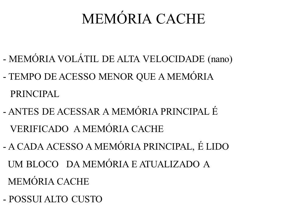 MEMÓRIA CACHE - MEMÓRIA VOLÁTIL DE ALTA VELOCIDADE (nano) - TEMPO DE ACESSO MENOR QUE A MEMÓRIA PRINCIPAL - ANTES DE ACESSAR A MEMÓRIA PRINCIPAL É VERIFICADO A MEMÓRIA CACHE - A CADA ACESSO A MEMÓRIA PRINCIPAL, É LIDO UM BLOCO DA MEMÓRIA E ATUALIZADO A MEMÓRIA CACHE - POSSUI ALTO CUSTO