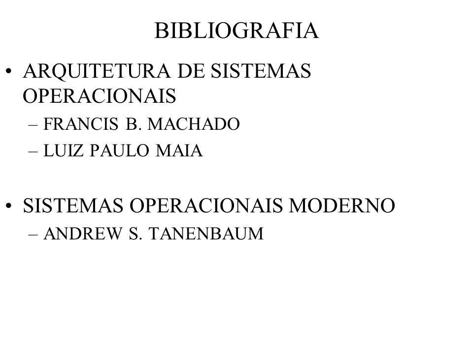 BIBLIOGRAFIA ARQUITETURA DE SISTEMAS OPERACIONAIS –FRANCIS B. MACHADO –LUIZ PAULO MAIA SISTEMAS OPERACIONAIS MODERNO –ANDREW S. TANENBAUM