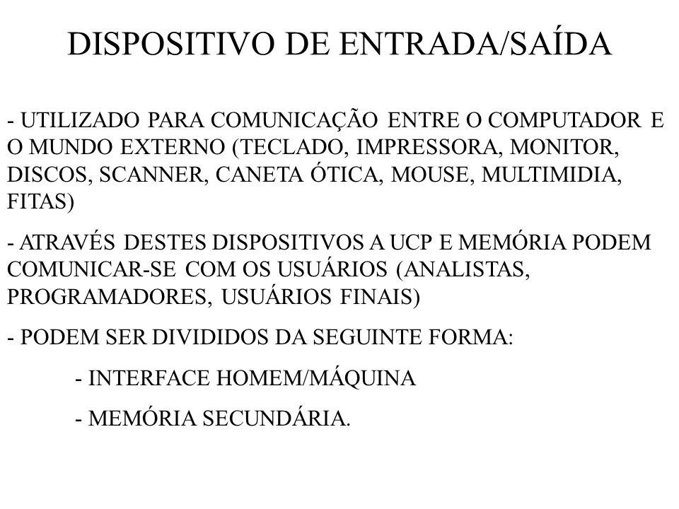 DISPOSITIVO DE ENTRADA/SAÍDA - UTILIZADO PARA COMUNICAÇÃO ENTRE O COMPUTADOR E O MUNDO EXTERNO (TECLADO, IMPRESSORA, MONITOR, DISCOS, SCANNER, CANETA ÓTICA, MOUSE, MULTIMIDIA, FITAS) - ATRAVÉS DESTES DISPOSITIVOS A UCP E MEMÓRIA PODEM COMUNICAR-SE COM OS USUÁRIOS (ANALISTAS, PROGRAMADORES, USUÁRIOS FINAIS) - PODEM SER DIVIDIDOS DA SEGUINTE FORMA: - INTERFACE HOMEM/MÁQUINA - MEMÓRIA SECUNDÁRIA.