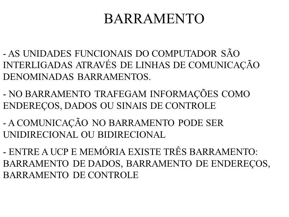 BARRAMENTO - AS UNIDADES FUNCIONAIS DO COMPUTADOR SÃO INTERLIGADAS ATRAVÉS DE LINHAS DE COMUNICAÇÃO DENOMINADAS BARRAMENTOS. - NO BARRAMENTO TRAFEGAM