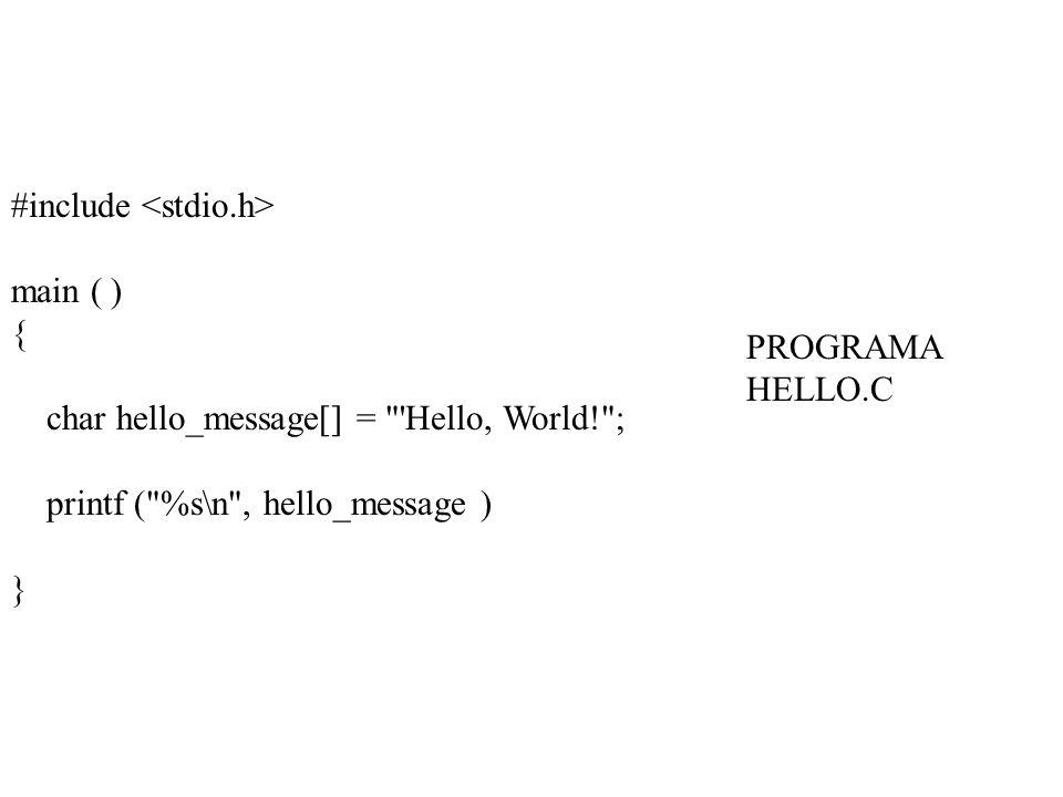 #include main ( ) { char hello_message[] = Hello, World! ; printf ( %s\n , hello_message ) } PROGRAMA HELLO.C
