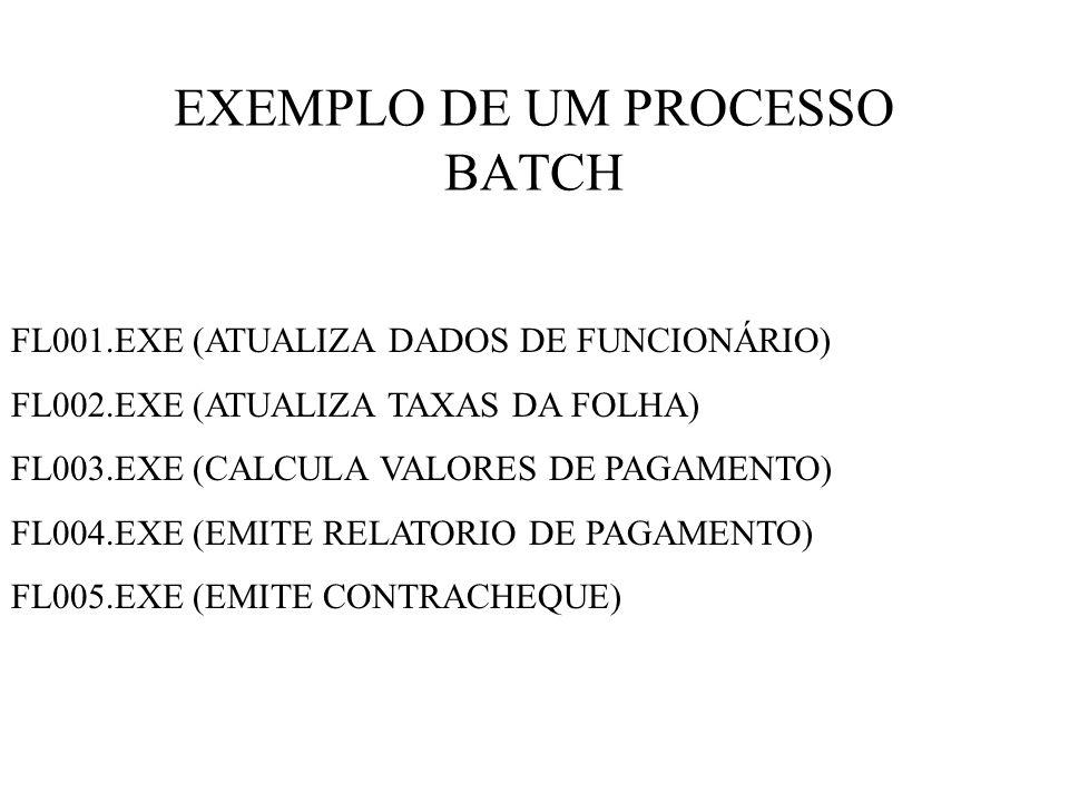 EXEMPLO DE UM PROCESSO BATCH FL001.EXE (ATUALIZA DADOS DE FUNCIONÁRIO) FL002.EXE (ATUALIZA TAXAS DA FOLHA) FL003.EXE (CALCULA VALORES DE PAGAMENTO) FL004.EXE (EMITE RELATORIO DE PAGAMENTO) FL005.EXE (EMITE CONTRACHEQUE)