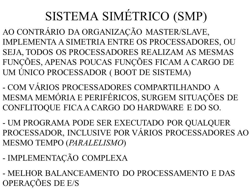 SISTEMA SIMÉTRICO (SMP) AO CONTRÁRIO DA ORGANIZAÇÃO MASTER/SLAVE, IMPLEMENTA A SIMETRIA ENTRE OS PROCESSADORES, OU SEJA, TODOS OS PROCESSADORES REALIZAM AS MESMAS FUNÇÕES, APENAS POUCAS FUNÇÕES FICAM A CARGO DE UM ÚNICO PROCESSADOR ( BOOT DE SISTEMA) - COM VÁRIOS PROCESSADORES COMPARTILHANDO A MESMA MEMÓRIA E PERIFÉRICOS, SURGEM SITUAÇÕES DE CONFLITOQUE FICA A CARGO DO HARDWARE E DO SO.