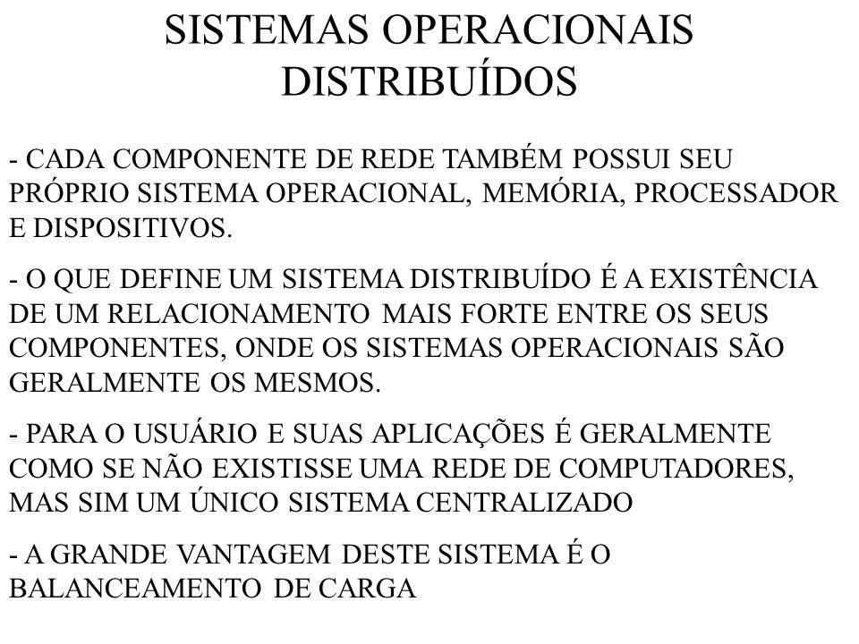 SISTEMAS OPERACIONAIS DISTRIBUÍDOS - CADA COMPONENTE DE REDE TAMBÉM POSSUI SEU PRÓPRIO SISTEMA OPERACIONAL, MEMÓRIA, PROCESSADOR E DISPOSITIVOS.