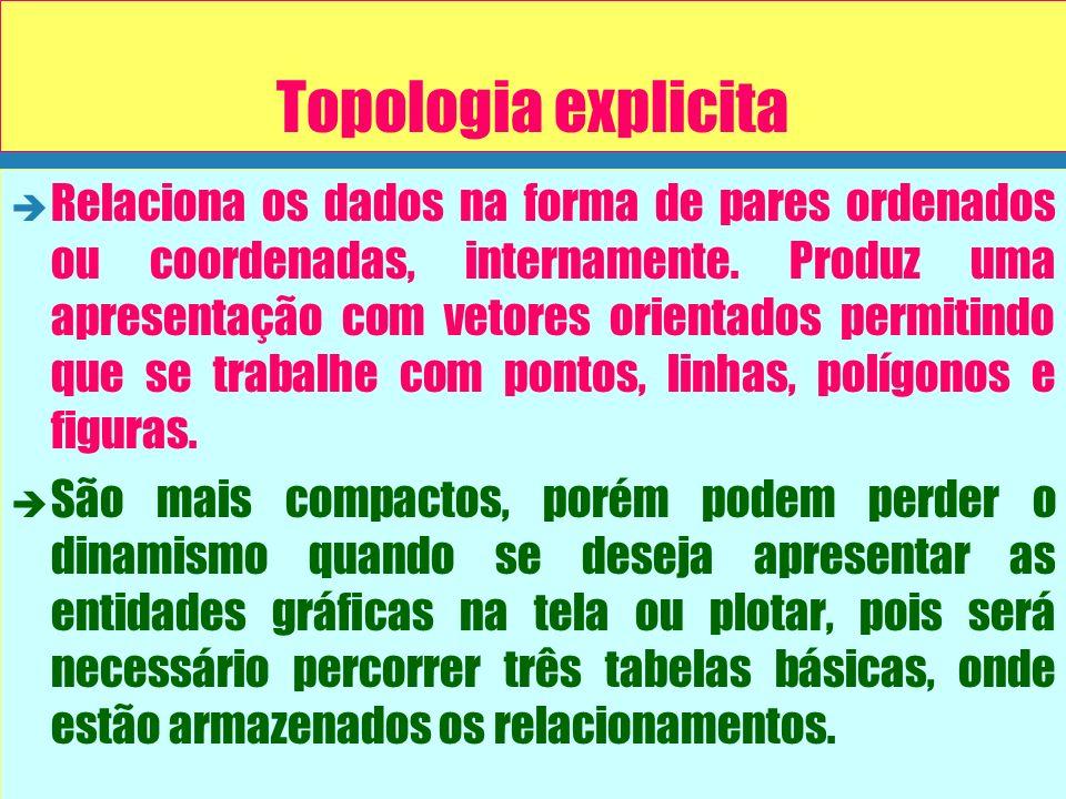 Topologia explicita è è Relaciona os dados na forma de pares ordenados ou coordenadas, internamente. Produz uma apresentação com vetores orientados pe