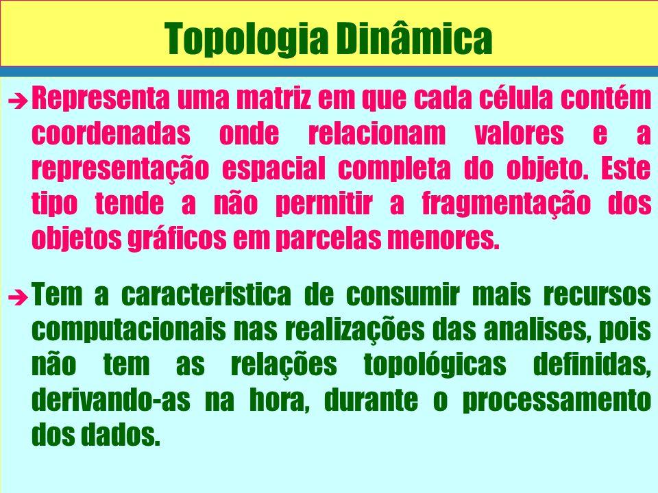 Topologia Dinâmica è è Representa uma matriz em que cada célula contém coordenadas onde relacionam valores e a representação espacial completa do obje
