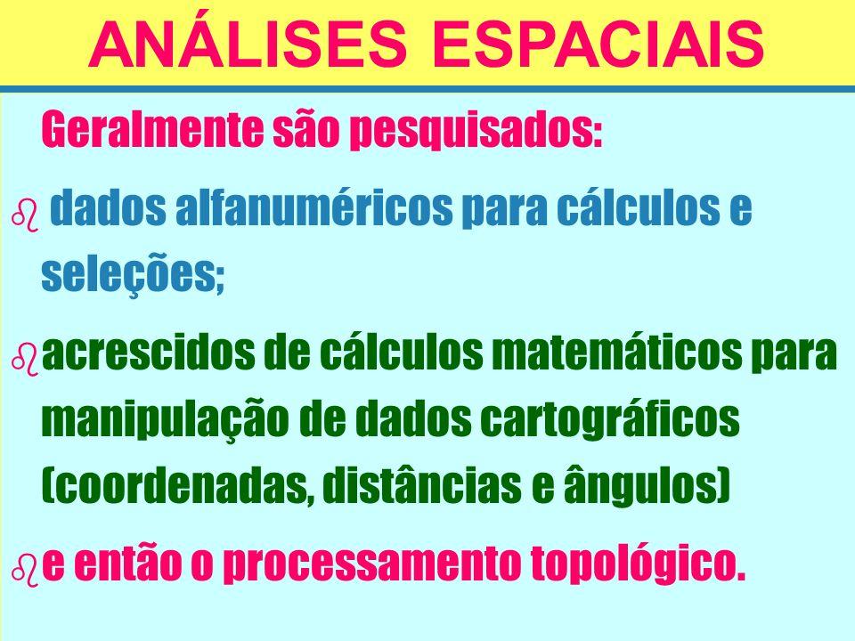 Geralmente são pesquisados: b b dados alfanuméricos para cálculos e seleções; b b acrescidos de cálculos matemáticos para manipulação de dados cartogr