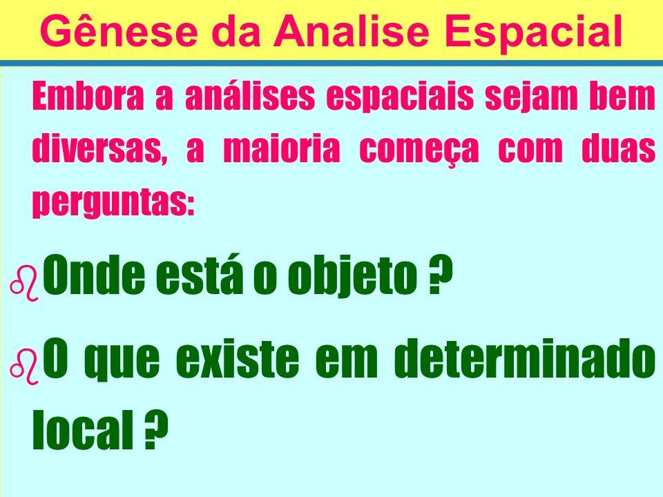 Embora a análises espaciais sejam bem diversas, a maioria começa com duas perguntas: b b Onde está o objeto ? b b O que existe em determinado local ?