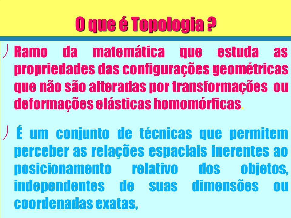Relações Topológicas A aplicação de conceitos de topologia permite extrair as relações topológicas de : ø ø Continência ( contém / contido) ø ø Adjacência (Vizinho a, ao lado de) ø ø Conectividade (conectado a, ligado a)