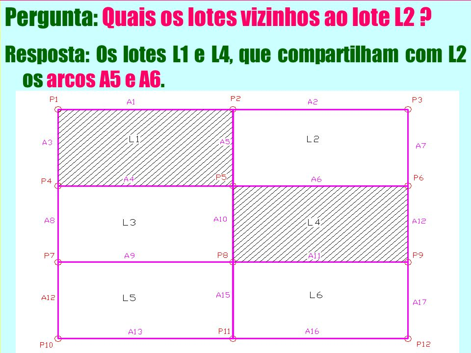 Pergunta: Quais os lotes vizinhos ao lote L2 ? Resposta: Os lotes L1 e L4, que compartilham com L2 os arcos A5 e A6.