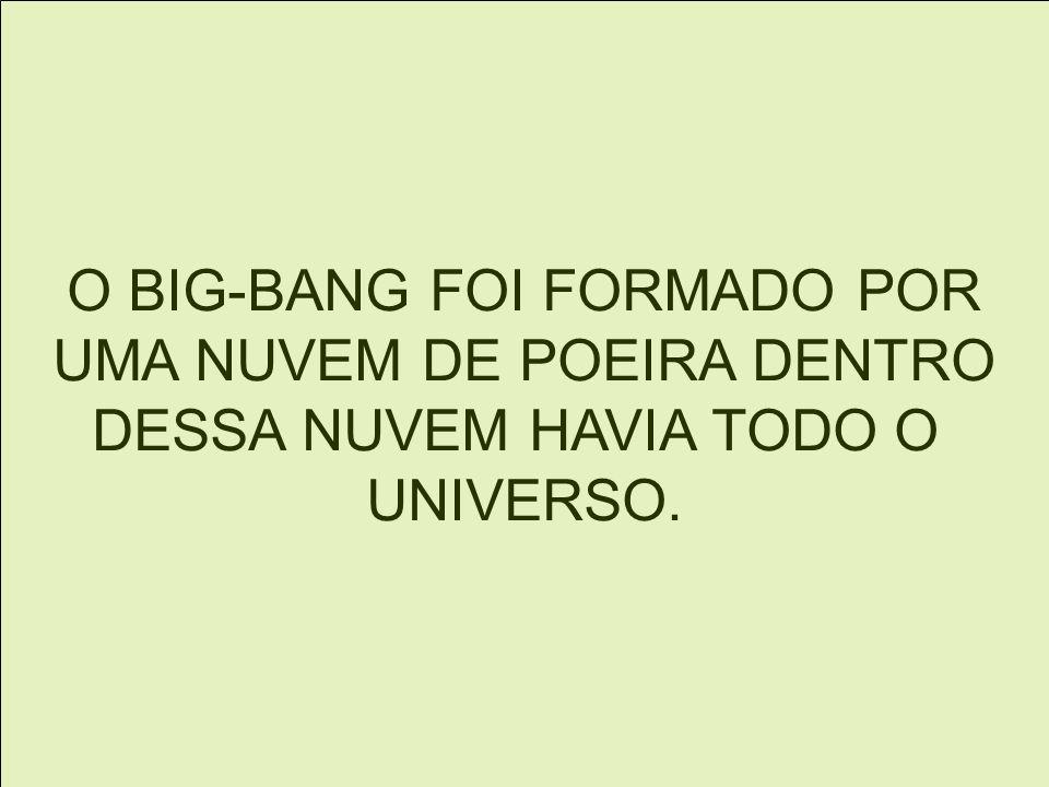 O BIG-BANG FOI FORMADO POR UMA NUVEM DE POEIRA DENTRO DESSA NUVEM HAVIA TODO O UNIVERSO.
