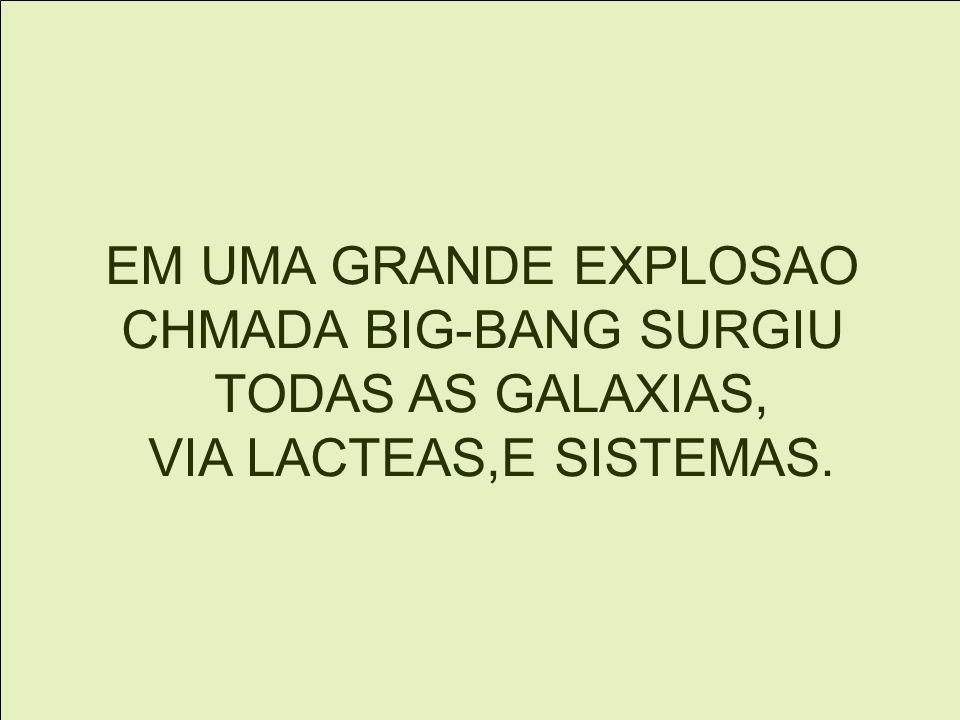 EM UMA GRANDE EXPLOSAO CHMADA BIG-BANG SURGIU TODAS AS GALAXIAS, VIA LACTEAS,E SISTEMAS.