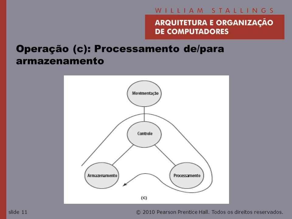 © 2010 Pearson Prentice Hall. Todos os direitos reservados.slide 11 Operação (c): Processamento de/para armazenamento