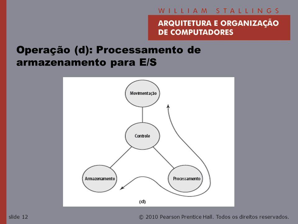 © 2010 Pearson Prentice Hall. Todos os direitos reservados.slide 12 Operação (d): Processamento de armazenamento para E/S