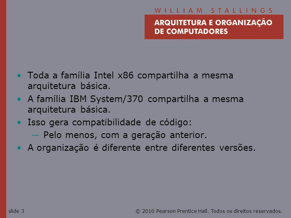 © 2010 Pearson Prentice Hall. Todos os direitos reservados.slide 3 Toda a família Intel x86 compartilha a mesma arquitetura básica. A família IBM Syst