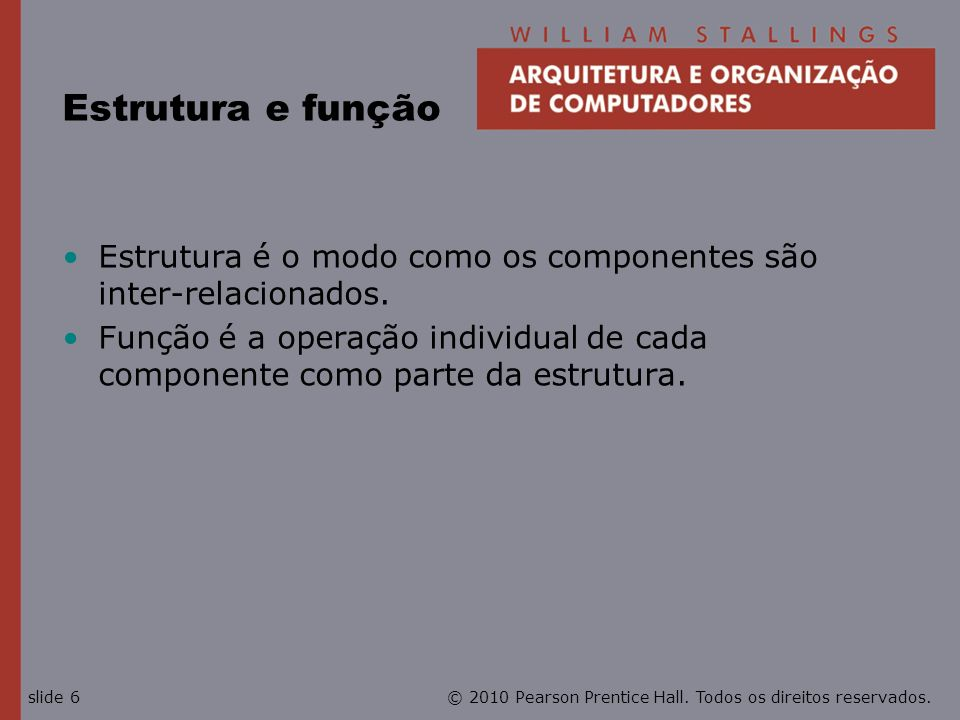 © 2010 Pearson Prentice Hall. Todos os direitos reservados.slide 6 Estrutura e função Estrutura é o modo como os componentes são inter-relacionados. F