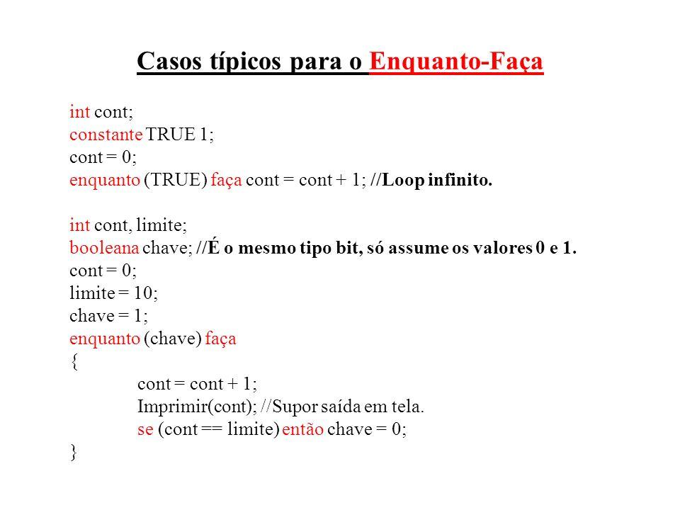Casos típicos para o Enquanto-Faça int cont; constante TRUE 1; cont = 0; enquanto (TRUE) faça cont = cont + 1; //Loop infinito. int cont, limite; bool