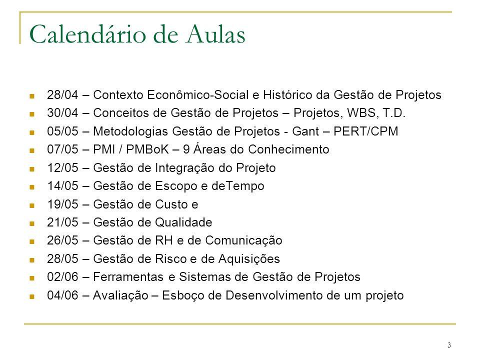 3 Calendário de Aulas 28/04 – Contexto Econômico-Social e Histórico da Gestão de Projetos 30/04 – Conceitos de Gestão de Projetos – Projetos, WBS, T.D