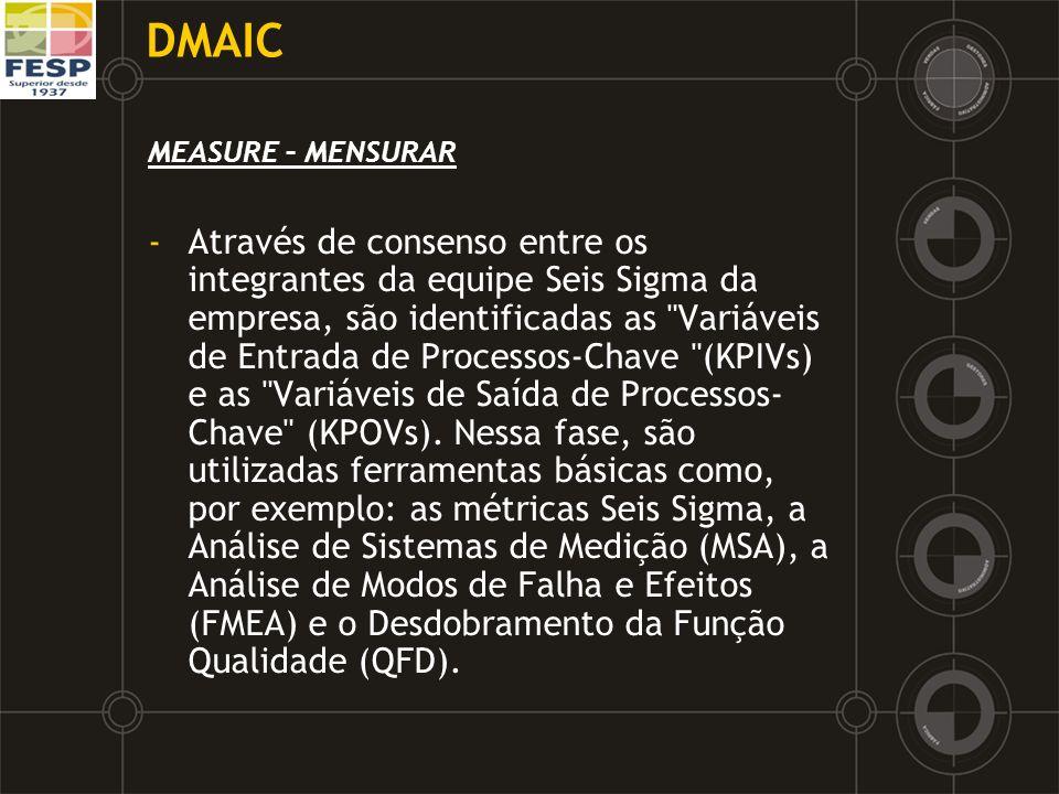DMAIC MEASURE – MENSURAR -Através de consenso entre os integrantes da equipe Seis Sigma da empresa, são identificadas as