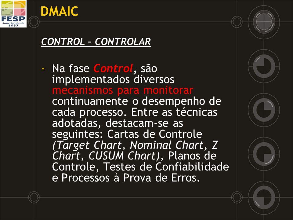 DMAIC CONTROL – CONTROLAR -Na fase Control, são implementados diversos mecanismos para monitorar continuamente o desempenho de cada processo. Entre as