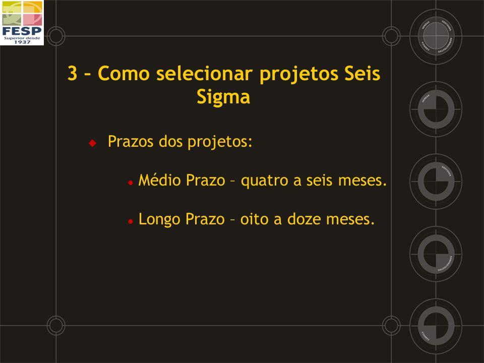 3 – Como selecionar projetos Seis Sigma Prazos dos projetos: l Médio Prazo – quatro a seis meses. l Longo Prazo – oito a doze meses.