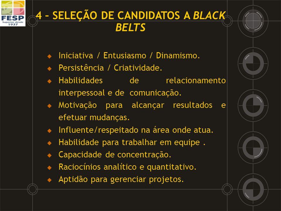 4 – SELEÇÃO DE CANDIDATOS A BLACK BELTS Iniciativa / Entusiasmo / Dinamismo. Persistência / Criatividade. Habilidades de relacionamento interpessoal e