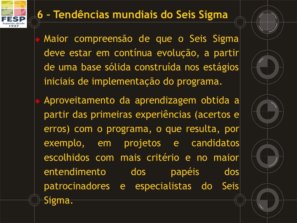 Maior compreensão de que o Seis Sigma deve estar em contínua evolução, a partir de uma base sólida construída nos estágios iniciais de implementação d
