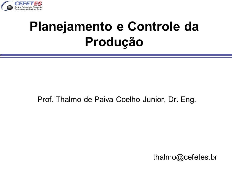 Planejamento e Controle da Produção Prof. Thalmo de Paiva Coelho Junior, Dr. Eng. thalmo@cefetes.br