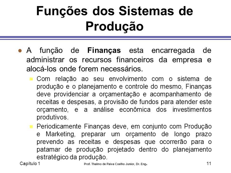 Capítulo 1 Prof. Thalmo de Paiva Coelho Junior, Dr. Eng.11 Funções dos Sistemas de Produção l A função de Finanças esta encarregada de administrar os