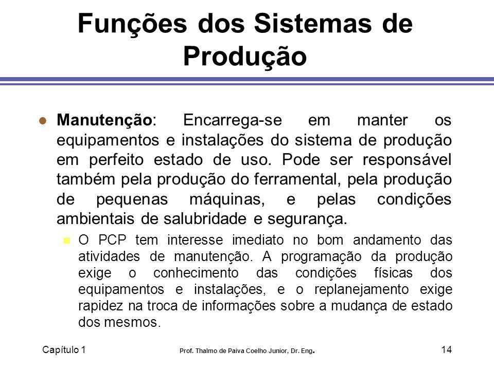 Capítulo 1 Prof. Thalmo de Paiva Coelho Junior, Dr. Eng.14 Funções dos Sistemas de Produção l Manutenção: Encarrega-se em manter os equipamentos e ins