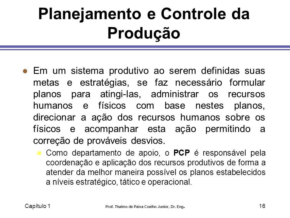 Capítulo 1 Prof. Thalmo de Paiva Coelho Junior, Dr. Eng.16 Planejamento e Controle da Produção l Em um sistema produtivo ao serem definidas suas metas