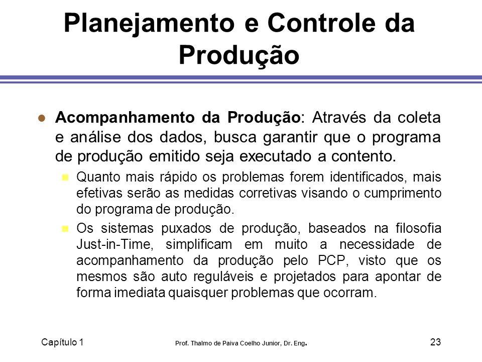 Capítulo 1 Prof. Thalmo de Paiva Coelho Junior, Dr. Eng.23 Planejamento e Controle da Produção l Acompanhamento da Produção: Através da coleta e análi