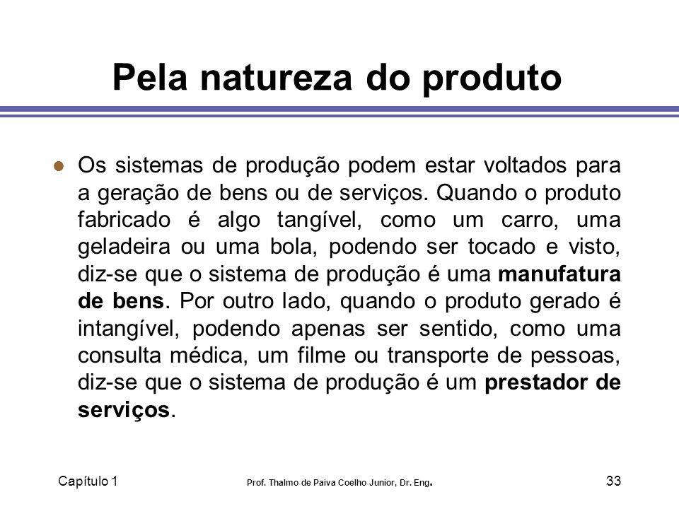 Capítulo 1 Prof. Thalmo de Paiva Coelho Junior, Dr. Eng.33 Pela natureza do produto l Os sistemas de produção podem estar voltados para a geração de b