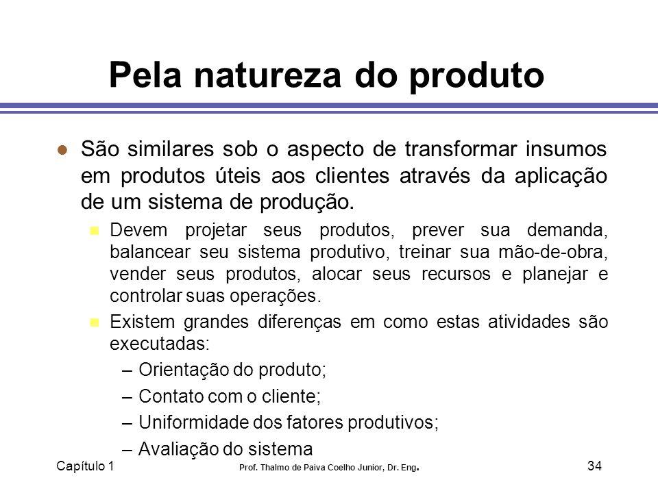 Capítulo 1 Prof. Thalmo de Paiva Coelho Junior, Dr. Eng.34 Pela natureza do produto l São similares sob o aspecto de transformar insumos em produtos ú