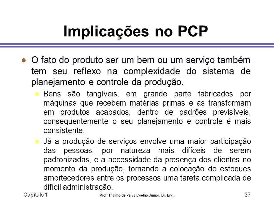 Capítulo 1 Prof. Thalmo de Paiva Coelho Junior, Dr. Eng.37 Implicações no PCP l O fato do produto ser um bem ou um serviço também tem seu reflexo na c