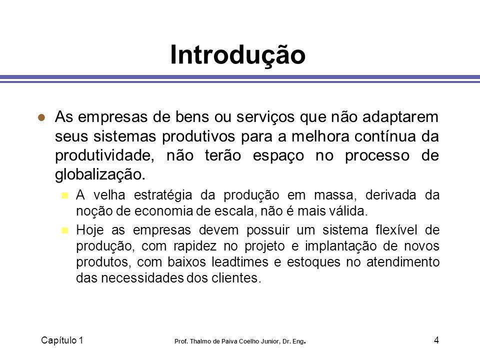 Capítulo 1 Prof. Thalmo de Paiva Coelho Junior, Dr. Eng.4 Introdução l As empresas de bens ou serviços que não adaptarem seus sistemas produtivos para