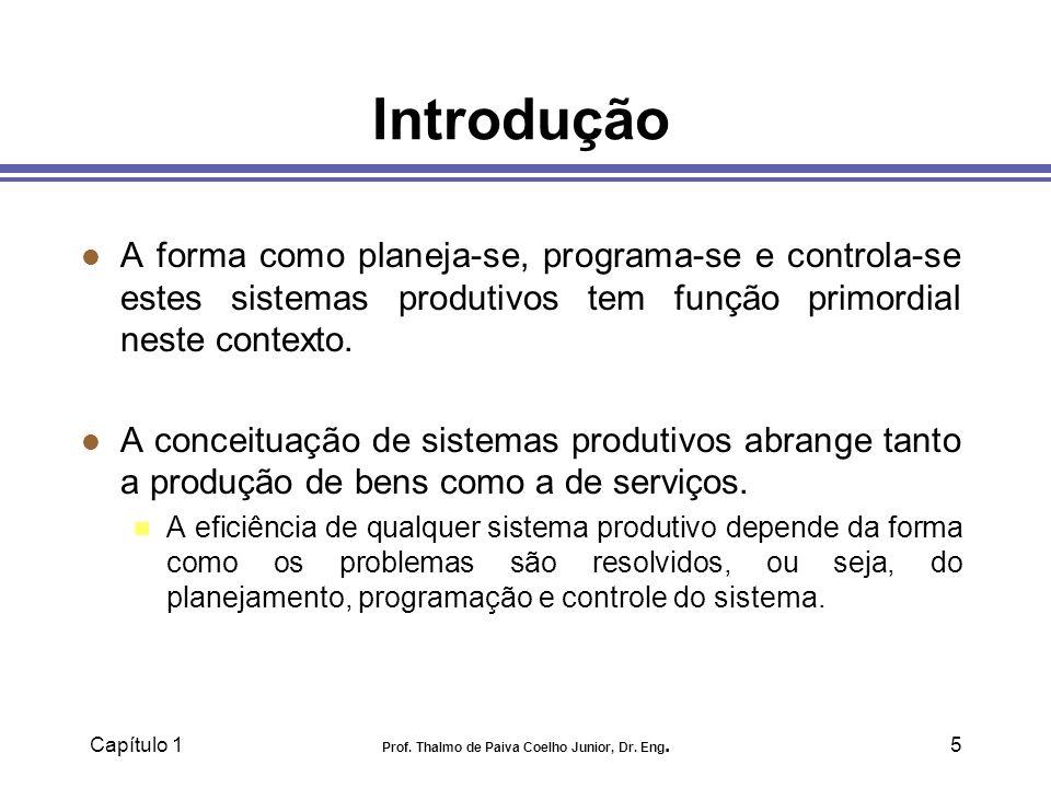 Capítulo 1 Prof. Thalmo de Paiva Coelho Junior, Dr. Eng.5 Introdução l A forma como planeja-se, programa-se e controla-se estes sistemas produtivos te