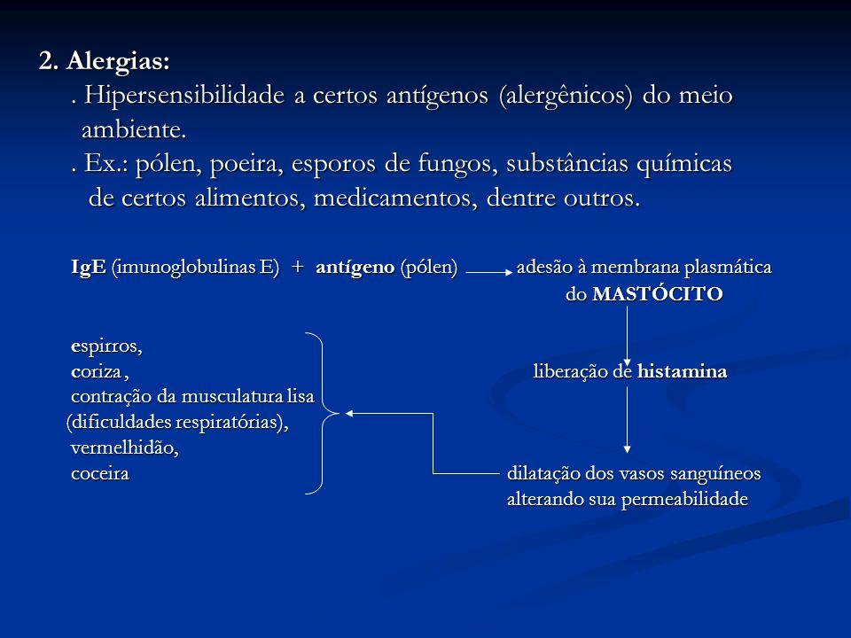 2. Alergias:. Hipersensibilidade a certos antígenos (alergênicos) do meio ambiente. ambiente.. Ex.: pólen, poeira, esporos de fungos, substâncias quím