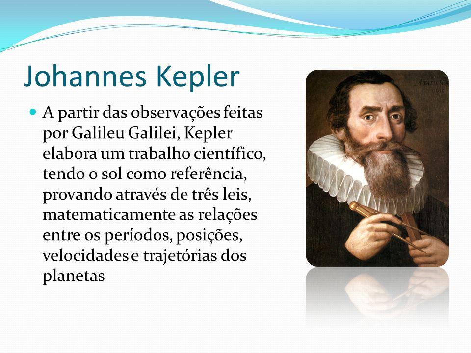 Johannes Kepler A partir das observações feitas por Galileu Galilei, Kepler elabora um trabalho científico, tendo o sol como referência, provando atra